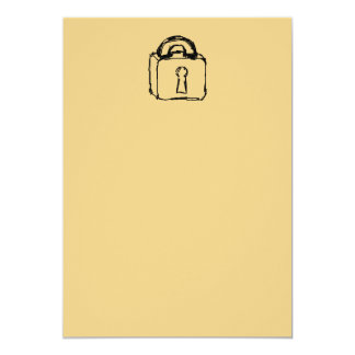 "Padlock. Top Secret or Security Icon. 5"" X 7"" Invitation Card"