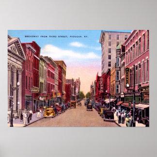 Paducah Kentucky Broadway from Third 1930 Poster