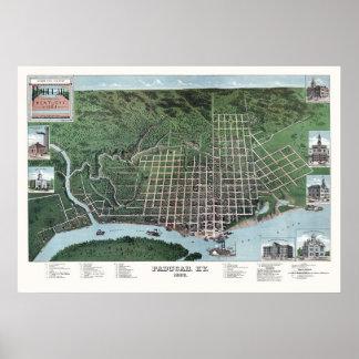 Paducah, KY Panoramic Map - 1889 Poster