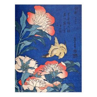 Paeonia Lactiflora and Atlantic Canary (Hokusai) Postcard