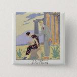 Paestum, 1924 (pochoir print) 2 inch square button