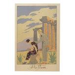 Paestum, 1924 (pochoir print) wood wall art
