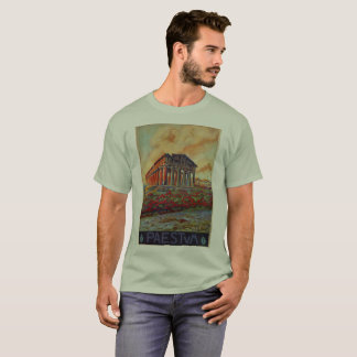 Paestum ancient Greeek temple Italian travel ad T-Shirt