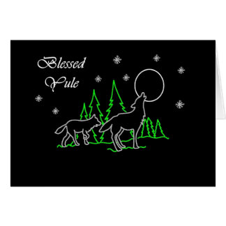 Pagan Blessed Yule with Wolves and Moon Card