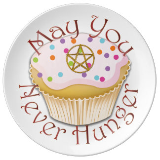 "Pagan Humor - Cupcake & ""May You Never Hunger"" Porcelain Plates"