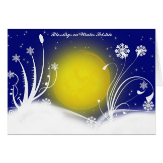 Pagan Moon Winter Solstice Blessings Card