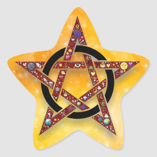 Pagan or Wiccan Pentagle Star Gold Sticker