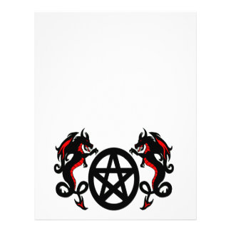 Pagan Pentacle and Red Dragons Letterhead
