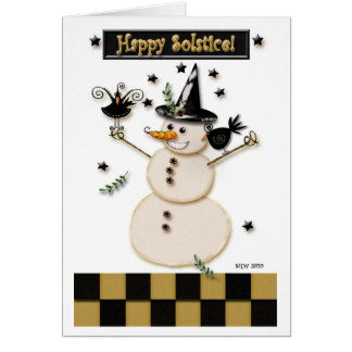 Pagan Prim Snowman & Laughing Crows Card