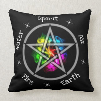 Pagan Wiccan Elemental Pentagram Throw Pillow