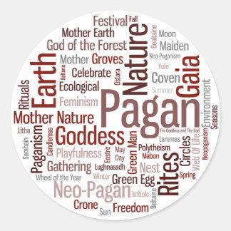 Pagan Words Classic Round Sticker