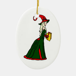 Pagan Yule Witch Ceramic Ornament