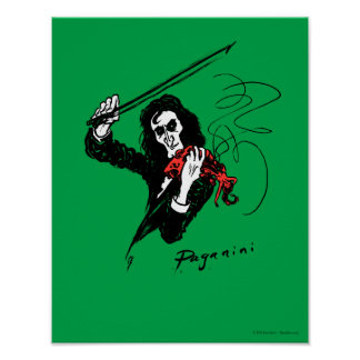 Paganini playing a red violin 11x14 poster