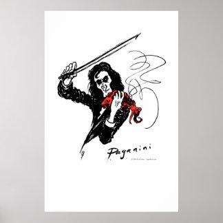 Paganini playing red violin poster