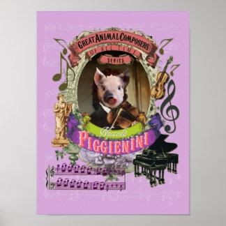 Paganini Spoof Parody Piggienini Cute Pig Composer Poster