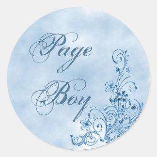 Page Boy Envelope Seals: Sky Blue Elegance Classic Round Sticker