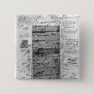 Page from one of Balzac's works 2 Inch Square Button