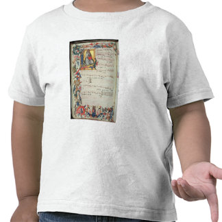 Page of musical notation with a historiated shirt