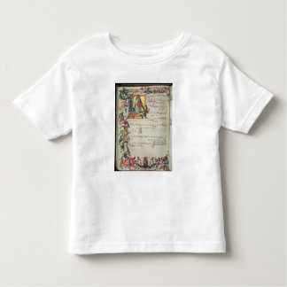 Page of musical notation with a historiated t shirt