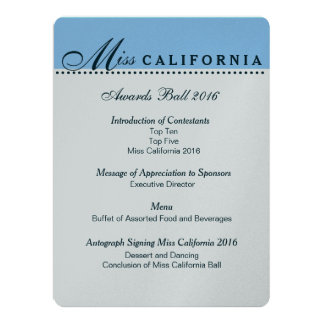 "Pageant Awards Ball Program in Metallic Silver 6.5"" X 8.75"" Invitation Card"