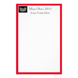 Pageant Crown & Custom Name Stationery Sheets