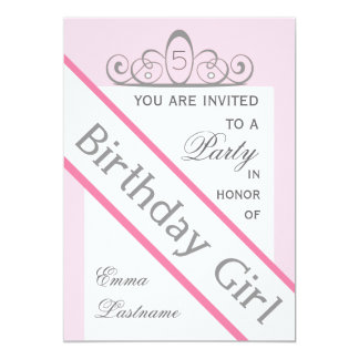 Pageant Sash & Tiara Birthday Party Invitation