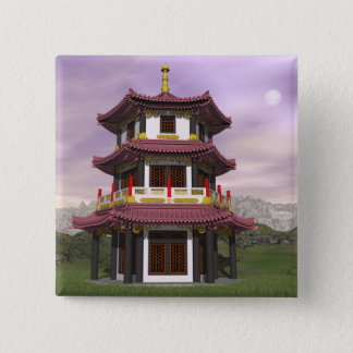 Pagoda - 3D render 2 Inch Square Button