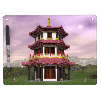 Pagoda - 3D render Dry Erase Board With Keychain Holder