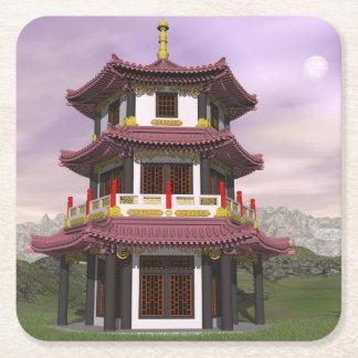 Pagoda - 3D render Square Paper Coaster