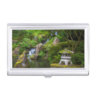 Pagoda and Pond in the Japanese Garden Business Card Holder
