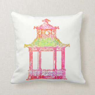 Pagoda Asian Chinese Watercolor Chinoiserie Pillow