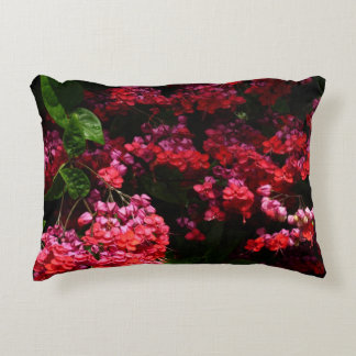 Pagoda Flowers Colorful Red and Pink Floral Accent Pillow