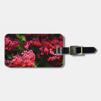 Pagoda Flowers Colorful Red and Pink Floral Luggage Tag