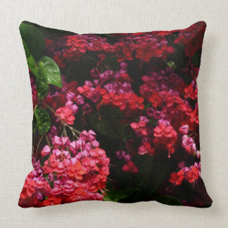 Pagoda Flowers Colorful Red and Pink Floral Throw Pillow