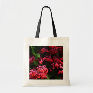 Pagoda Flowers Colorful Red and Pink Floral Tote Bag