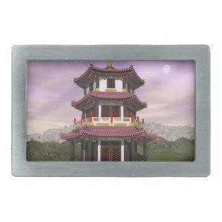 Pagoda in nature - 3D render Belt Buckles