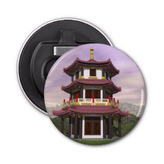 Pagoda in nature - 3D render Button Bottle Opener