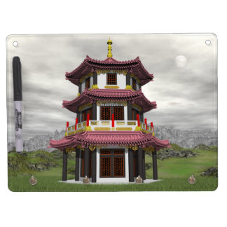 Pagoda in nature - 3D render Dry Erase Board With Keychain Holder