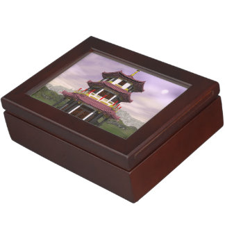 Pagoda in nature - 3D render Keepsake Box