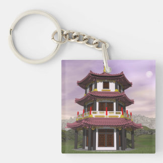 Pagoda in nature - 3D render Keychain