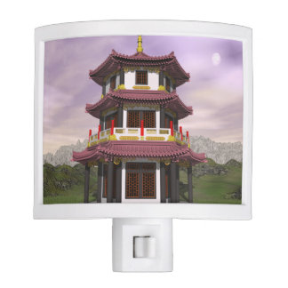 Pagoda in nature - 3D render Night Lights