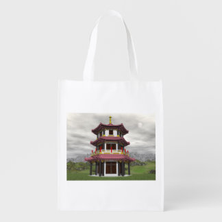Pagoda in nature - 3D render Reusable Grocery Bag