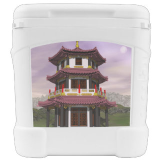 Pagoda in nature - 3D render Rolling Cooler