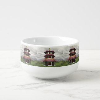 Pagoda in nature - 3D render Soup Mug
