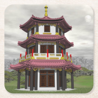 Pagoda in nature - 3D render Square Paper Coaster