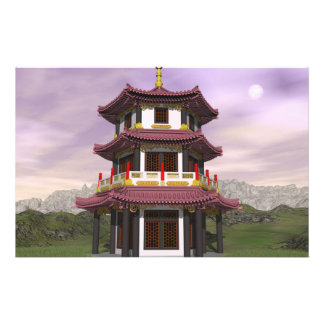 Pagoda in nature - 3D render Stationery