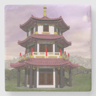 Pagoda in nature - 3D render Stone Coaster