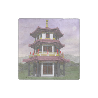 Pagoda in nature - 3D render Stone Magnets