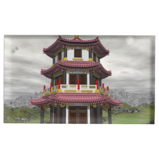 Pagoda in nature - 3D render Table Card Holder