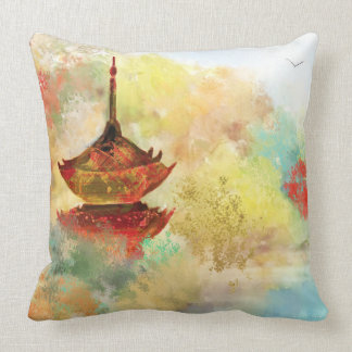 Pagoda in the Forest Custom Pillow